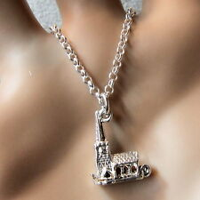 new sterling silver opening mini church pendant & chain