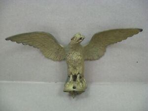 "Antique Vtg Solid Brass Eagle 11"" Wingspan Flag Pole Topper Clock Lamp Finial"