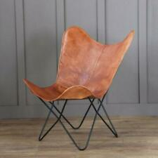 Vintage Tan Leather Butterfly Chair Home Decor Living Room Hallway Relax Chair