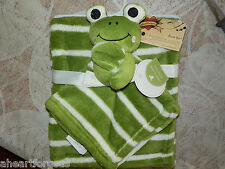 BABY BLANKET & FROG SECURITY STRIPES GREEN WHITE LOT 2 BIG EYES COMBO SOFT NEW