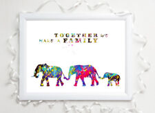 elephant family in love glossy Print a4 paint splat picture poster unframed