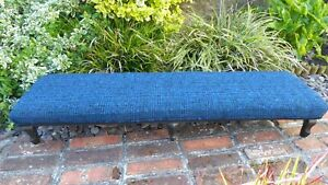 Long Vintage Footstool with 100% pure wool Seat