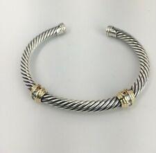 David Yurman Sterling and 18K Yellow Gold Diamond Cable Cuff Bracelet
