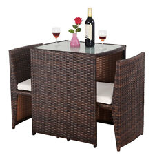 3 PCS Cushioned Outdoor Wicker Patio Set Seat Brown Garden Lawn Sofa Furniture