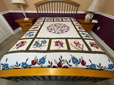 King Size Machine Appliqué Dragonfly & Flora quilt top# 001