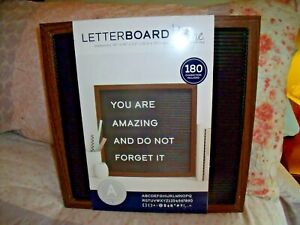 """NEW Dark Wood & Black LETTER BOARD W/ 180 White Characters & Letters  14"""" Square"""