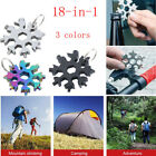 1/2x 18 In 1 Multi Portable Stainless Snowflake Shape Key Chain Screwdriver