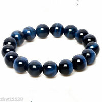 100% Natural 8mm AAA+ Gemstone Blue Tigers Eye Stone Beads Woman Man Bracelet
