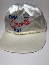 Corvette Fest Vintage Nissin White Satin Trucker Hat Iowa Braided Rope