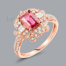 Solid 18K Rose Gold Engagement Wedding Natural Tourmaline Gemstone Diamond Ring