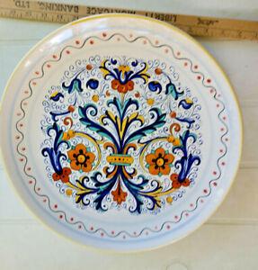 "Deruta Italy 16"" Large Round Serving Platter Orange Flowers Blue Scrolls/Leaves"