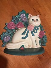 """Vintage Cast Iron Doorstop """"Kitty With Flowers�. Weighs 3 lbs 12 oz"""