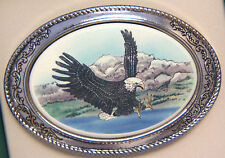 Belt Buckle Barlow Photo Reproduction in Color of Eagle Landing Silver 592141c
