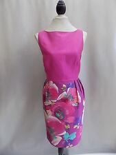 Magnifique côte Rose/Violet Multi Floral Crayon Poche Robe de Soirée Taille 16