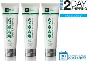 3 x Genuine Biofreeze Professional 4oz Gel Tube Pain Relief Arthritis Back