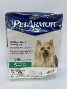 Pet Armour Flea & Tick Treatment for Dogs 5-22lbs 3 Month Supply ~ Read!