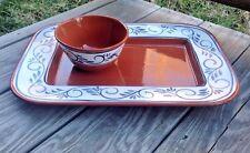 Hand Painted PLATTER Portuguese Ceramic Pottery Terracotta A.Santos Portugal
