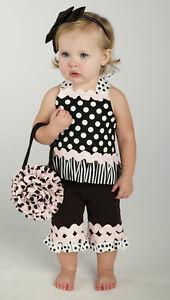 Baby Girl Mud Pie Cotton 2 Piece Capri Playset  Outfit  ~ Perfectly Princess ~
