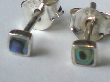 STERLING SILVER & ABALONE SMALL SQUARE 3mm STUD EARRINGS only  £6.50 NWT