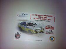 CP POSTCARD CARTOLINA OPEL KADETT JOUANNY RALLY RALLYE WRC MONTE CARLO 2011