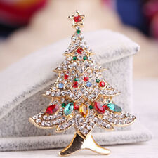 Women Girls Christmas Tree Rhinestone Brooch Pin Broach Wedding Party Jewelry