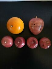Vintage Alabaster Marble Stone Fruit 6 Pieces