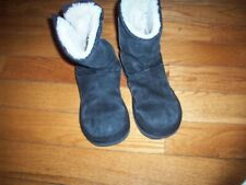 Women's UGG Australia SizE 6 Mayfaire Black Suede Side Zip Metal Logo 5116 Boots