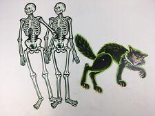 Vintage Beistle Jointed Die Cut Halloween Paper Decorations 2 Skeleton & 1 Cat