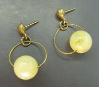 Vintage THIN GOLD FILLED WIRE Dangle Earrings CREAM/IVORY Faux Opal Bead DROP