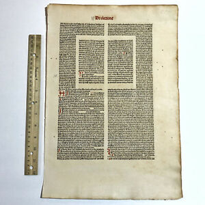 """RARE 1400's Incunable Early Book Leaf Paper """"First Book On Election"""" Old Rare"""