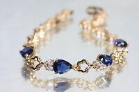 Created Sapphire 4 Drop 18K Rose Gold GF Bracelet 17cm / 6.69inches