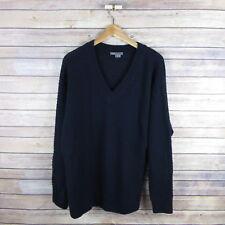 VINCE Women's Woven Cashmere Wool Blend V Neck Sweater L Large Blue