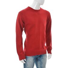 Tommy Hilfiger FOR Men's 100% COTTON Knit Crew-Neck Pullover Sweater Top Red