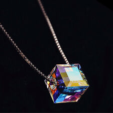 Multi-color Crystal Silver Women Jewelry Square Gems Necklace Pendant 8mm NL121