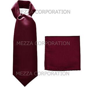 New Vesuvio Napoli Men's Polyester Ascot Cravat Necktie Hankie Solid Dark Purple