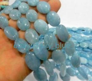13x18mm Natural Brazilian Aquamarine Flat Oval Gemstone Loose Beads 15''