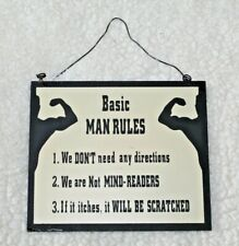 Man Cave Basic Man Rules Wooden Sign