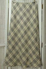 "LAURA ASHLEY Petite Linen Maxi Skirt UK12 34"" Waist Plaid 36"" Long Bias Vintage"