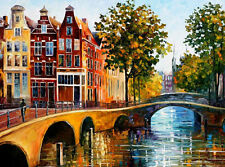 "The Gateway To Amsterdam —  Oil Painting On Canvas By Leonid Afremov.  40""x30"""