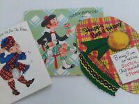 3 Vtg Mid Century SCOTTISH Kilt Tam SCOTCH Theme 1 Popup BIRTHDAY GREETING CARDS
