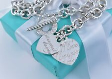 """Tiffany & Co Silver I Love You Notes Double Heart Two Charm Toggle 16"""" Necklace"""