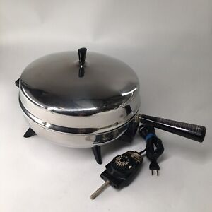 VTG Faberware Stainless Steel Electric Fry Pan Skillet 310-B w Cord WORKS EUC