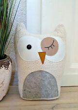 ❀ Schicker Türstopper Eule Uhu Türsack Creme Weiß Grau - 26cm 1,2 kg ! #205A