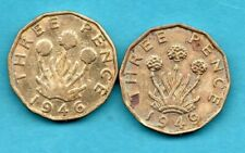 More details for 1946 & 1949 brass threepence coins. 2 key dates. george vi. (harshly cleaned)