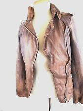 MUUBAA Clinton  Brown Distressed Leather Bomber Jacket  Size  4  # M0167