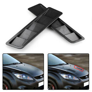 2PCS Universal Carbon Fiber Look Hood Vent Louver Cooling Panel Trim ABS Plastic