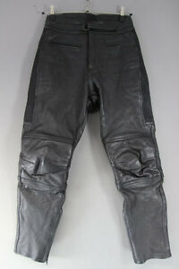 RHINO BLACK COWHIDE LEATHER BIKER TROUSERS - WAIST 30 INCH/INSIDE LEG 29 INCH