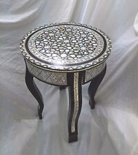 W86 Mother Of Pearl Moroccan Corner Wood Round Table Brown End Coffee