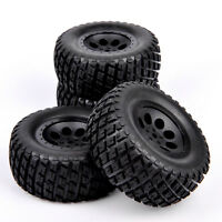 4x Rubber Tyre Tires & Wheel Set 6mm Offset For 1/10 Scale RC Short Course Truck