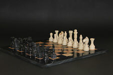 "12"" Chess Set Teak Stone & Black Marble Hand Made in Velvet/Suede Gift Box"